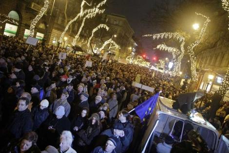Manifestantes en Budapest. | Afp
