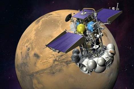 Recreación de la sonda 'Phobos Grunt' en su truncado camino a Marte.