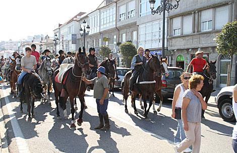 Manifestación de los propietarios de caballos, en Baiona. | A. G.
