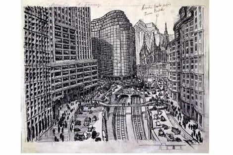 Uno de los dibujos de Fritz Lang para el guión de Metrópolis (1927).   EL MUNDO