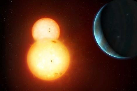 Recreación del planeta Kepler-35b, orbitando dos estrellas. |'Nature'