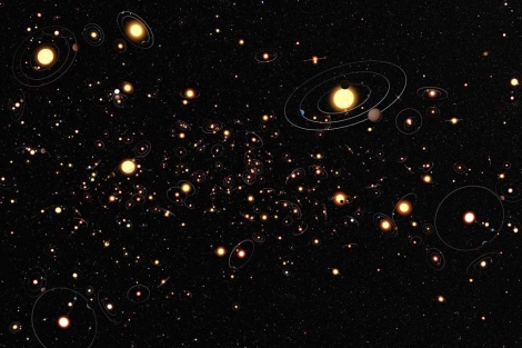 Representación de estrellas orbitadas por planetas en la Vía Láctea. |'Nature'