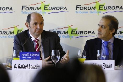 El presidente de la Diputación de Pontevedra, Rafael Louzán, durante la conferencia.