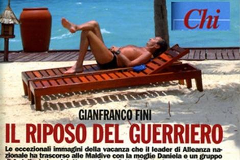 Gianfranco Fini difrutando de sus vacaciones en Las Maldívas. | Chi