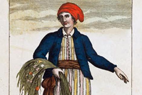 Ilustración de época de la botánica francesa Jeanne Baret. | Mitchell Library