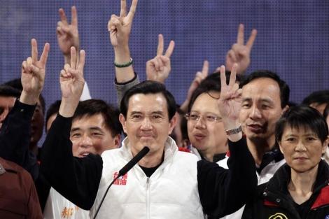 El presidente de Taiwán, Ma Ying-jeou, durante un mitin de campaña en Taipei.   Reuters