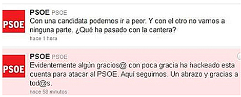 Arriba, el 'tuit' de un intruso y abajo, la respuesta del PSOE.