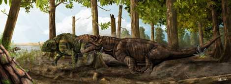 Recreación del 'Pamaphoneus biccai', en lo que fue su entorno, a la caza de un herbívoro. |Voltaire Neto