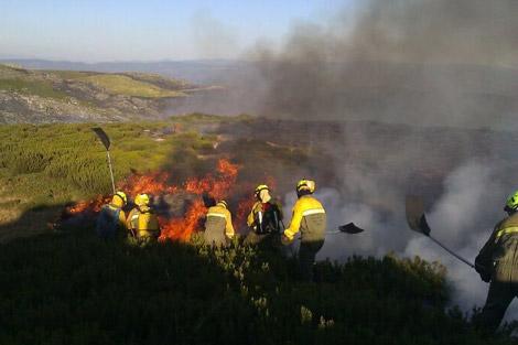 Brigadistas del MARM, durante un incendio en el interior ourensano.
