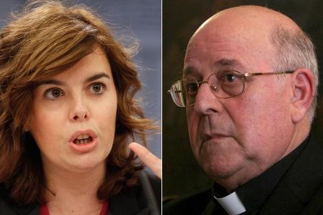 Soraya Sáenz de Santamaría y el arzobispo Ricardo Blázquez. | J. Ayma | Ical