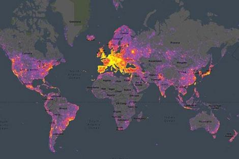 En amarillo, los lugares más fotografiados del planeta en el Sightsmap. | E. M.