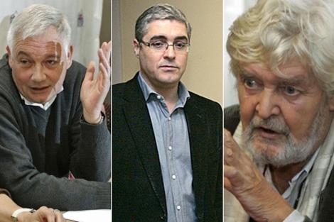 Guillerme Vázquez (UPG), Carlos Aymerich (Máis Galiza) y Xosé Manuel Beiras (EI). | Efe