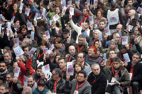 Sólo asistieron unos 2.000 militantes de los 5.400 previstos.   Efe