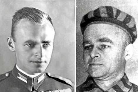 Dos imágenes del espía polaco: como soldado y como prisionero.