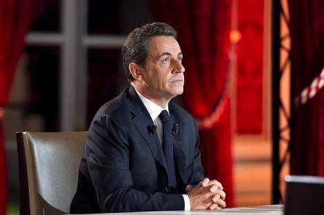 El presidente de Francia, Nicolas Sarkozy, entrevistado en el palacio del Eliseo. | Efe