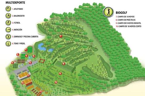 Plano del Club de Campo en Las Rozas.