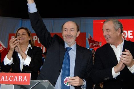 SIlva, Rubalcaba y Vázquez, durante la pasada campaña electoral. | PSdeG