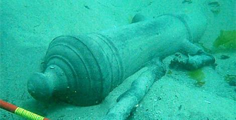 Pieza de artillería sumergida en la ría de Corcubión. | Consellería de Cultura