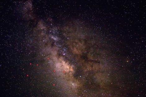 El centro de la galaxia y la constelación de Sagitario.