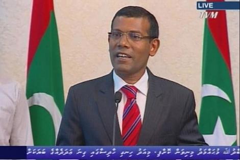 Mensaje en televisión del presidente de Maldivas, Mohamed Nasheed .| Reuters