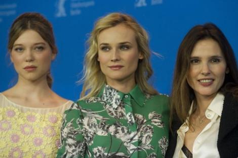 Léa Seydoux, Diane Kruger y Virgine Ledoyen, protagonistas del filme.   AFP