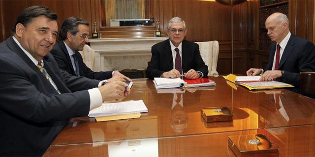 Los socios del Gobierno griego durante la reunión de este miércoles. | Efe