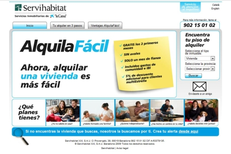 Imagen de la web de AlquilaFácil. | Servihabitat.com