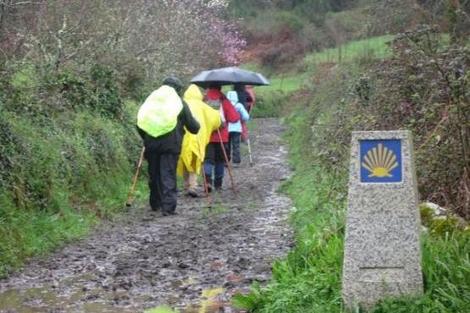 Amigos del Camino de Lugo, en una excursión por una de las rutas xacobeas.