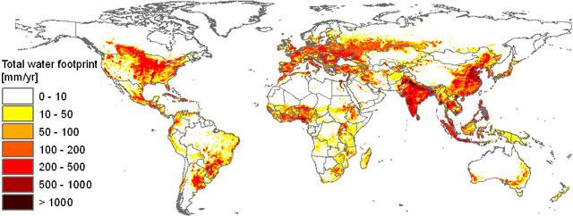 El mapa muestra la huella hídrica por países durante el periodo 1996-2005. | Hoekstra/Mekonnen