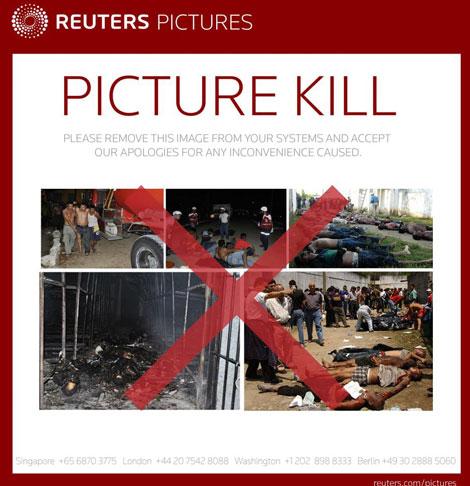 Información de Reuters indicando cuáles son las imágenes erróneas.