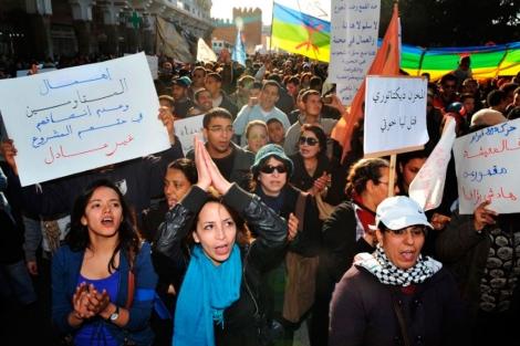 Simpatizantes del Movimiento 20 de Febrero protestan en Rabat. | Afp