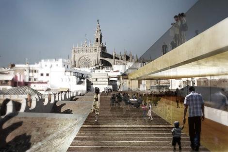 Recreación de la terraza del CaixaFórum, con un mirador y un restaurante.   La Caixa