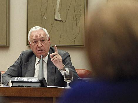 García-Margallo, ayer en la comisión de Exteriores del Congreso. | Efe/Juan Carlos Hidalgo