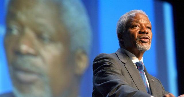 El ex secretario general de la ONU y enviado especial para mediar en las revueltas sirias, Kofi Annan. |