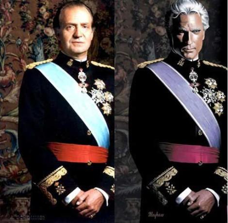 El Rey con el uniforme, al lado del personaje del videojuego con uno similar.