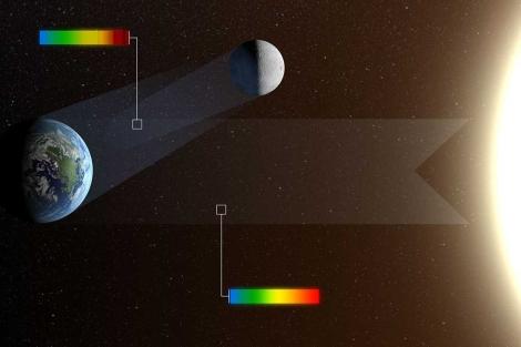 Recreación del reflejo que proyecta la Tierra sobre la Luna. | ESO