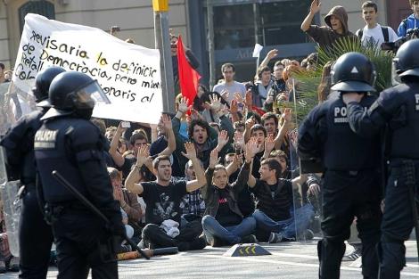 Protesta en Barcelona. | J. Soteras.