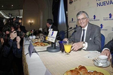El fiscal general del Estado, durante el desayuno de Foro de la Nueva Sociedad. | Zipi / Efe