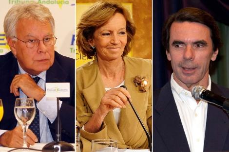 Felipe González, Elena Salgado y José María Aznar.