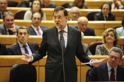 El presidente del Gobierno en la Cámara Alta. | Bernardo Díaz
