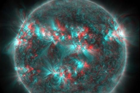 Recreación en 3D de las llamaradas del Sol durante ocho horas. | Solar Dinamycs Observatory