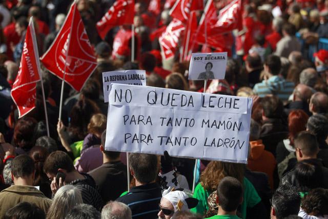 Manifestación contra la reforma laboral el pasado 19 de febrero en Madrid. | Javier Barbancho