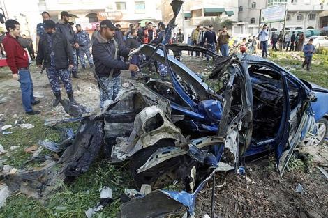 El coche atacado por la fuerza israelí. | Afp