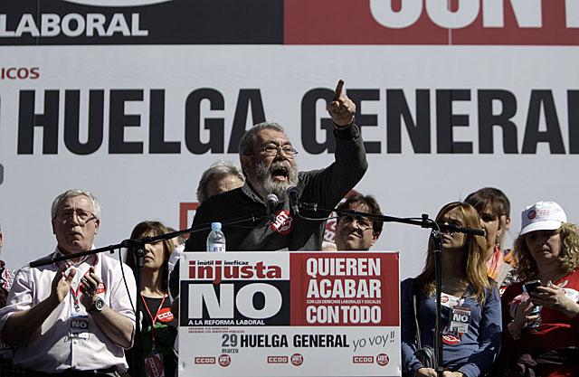 Cándido Méndez, secretario general de UGT, durante su discurso de la manifestación del domingo en Madrid. | Alberto di Lolli