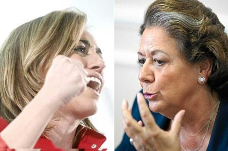 La socialista Carme Chacón y la alcaldesa de Valencia, Rita Barberá.