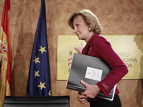 Salgado, en una rueda de prensa como vicepresidenta económica. | A. Di Lolli