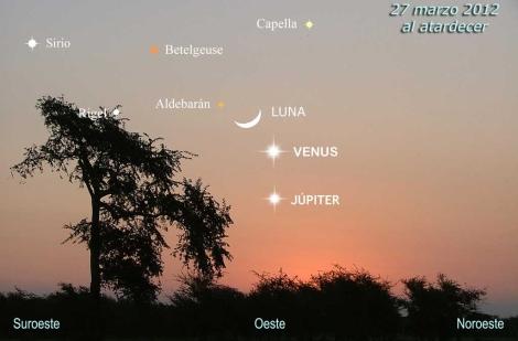 Conjunción de planetas el próximo 27 de marzo.   Pedro Arranz y César González