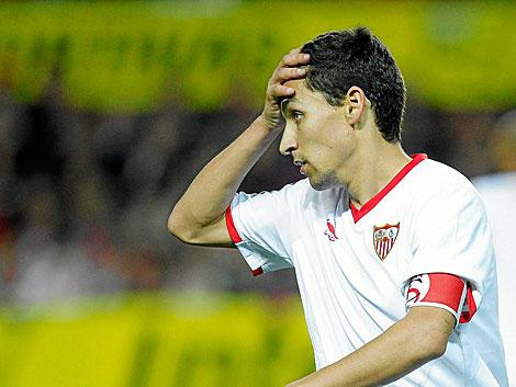 El sevillista Jesús Navas se lamenta de una ocasión contra el Espanyol. | Efe