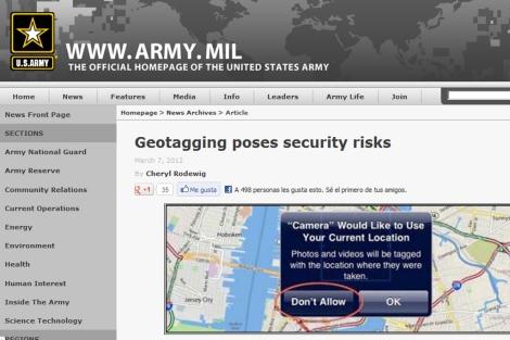 Imagen del artículo publicado en la página web oficial del ejército estadounidense.