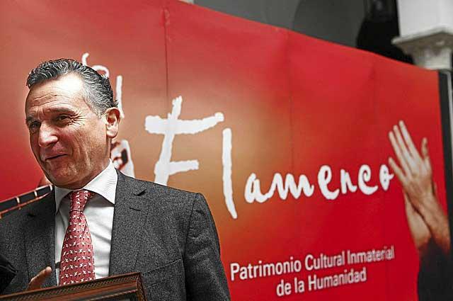 Paulino Plata, en una comparecencia en la Agencia del Flamenco. | E. Lobato